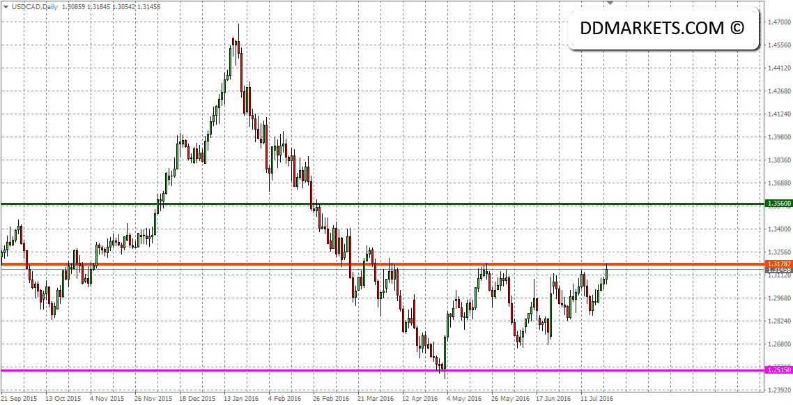 USDCAD Daily Chart 24/07/16